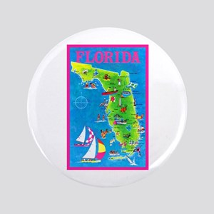 "Florida Map Greetings 3.5"" Button"