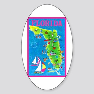 Florida Map Greetings Sticker (Oval)