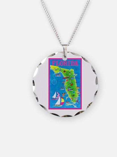 Florida Map Greetings Necklace Circle Charm
