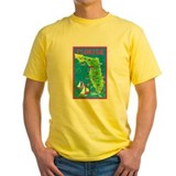 Florida state map Mens Classic Yellow T-Shirts