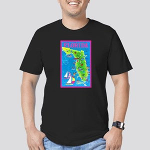 Florida Map Greetings Men's Fitted T-Shirt (dark)