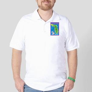 Florida Map Greetings Golf Shirt