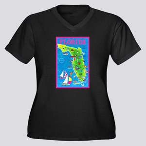Florida Map Greetings Women's Plus Size V-Neck Dar