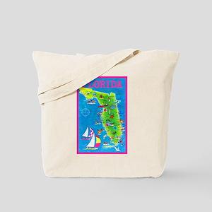 Florida Map Greetings Tote Bag