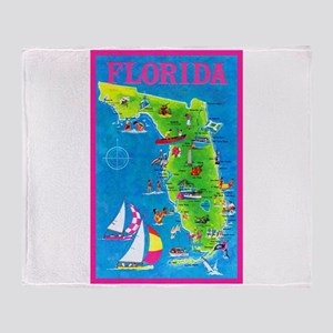 Florida Map Greetings Throw Blanket