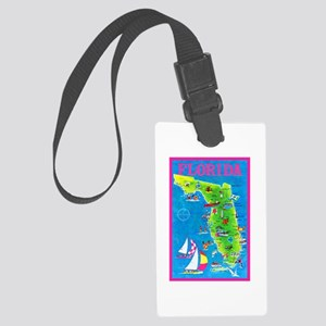 Florida Map Greetings Large Luggage Tag