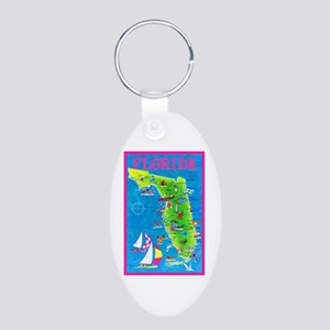 Florida Map Greetings Aluminum Oval Keychain