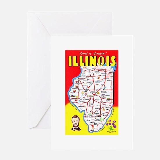 Illinois Map Greetings Greeting Card