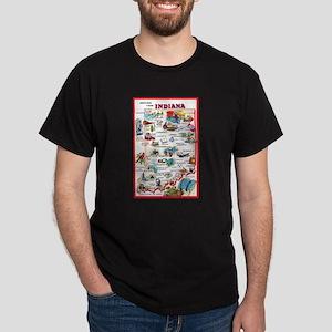 Indiana Map Greetings Dark T-Shirt