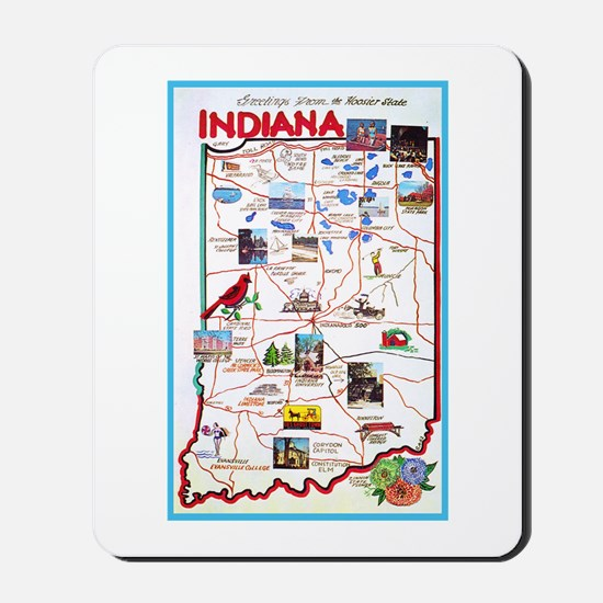 Indiana Map Greetings Mousepad