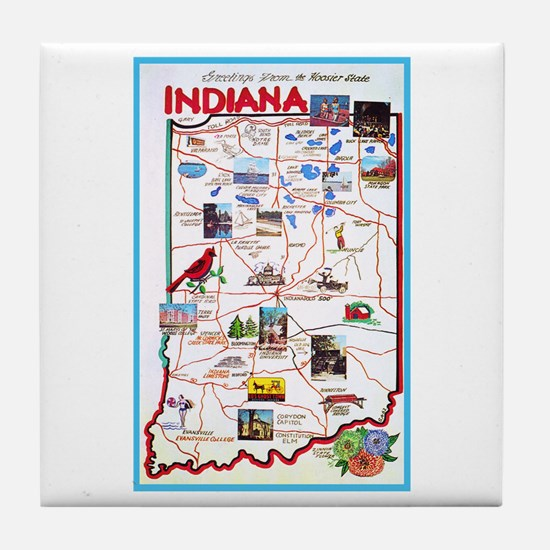 Indiana Map Greetings Tile Coaster