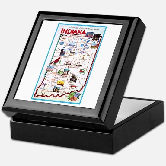 Indiana Map Greetings Keepsake Box