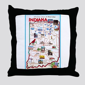 Indiana Map Greetings Throw Pillow