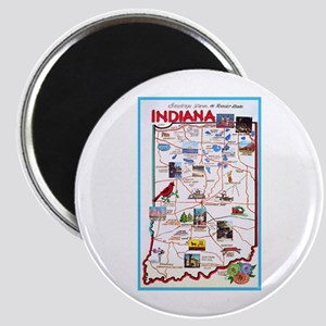 Indiana Map Greetings Magnet