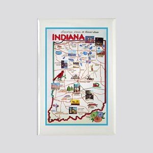 Indiana Map Greetings Rectangle Magnet