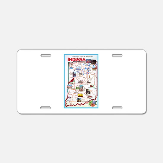 Indiana Map Greetings Aluminum License Plate