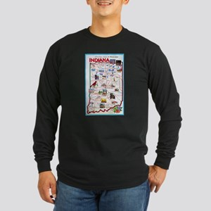 Indiana Map Greetings Long Sleeve Dark T-Shirt