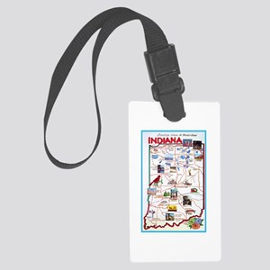 Indiana Map Greetings Large Luggage Tag