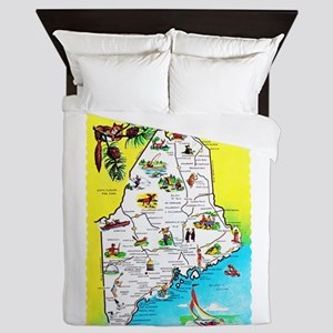 Maine Map Greetings Queen Duvet