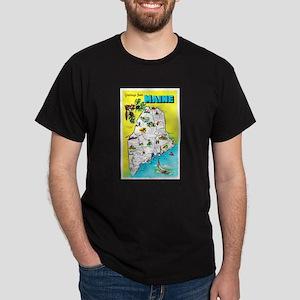 Maine Map Greetings Dark T-Shirt