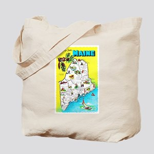 Maine Map Greetings Tote Bag