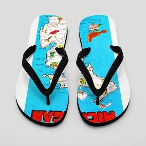 Michigan Map Greetings Flip Flops