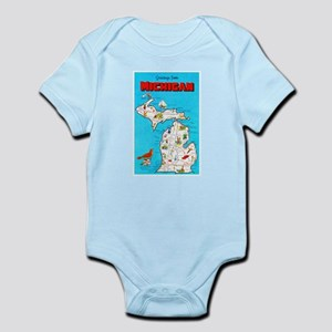 Michigan Map Greetings Infant Bodysuit