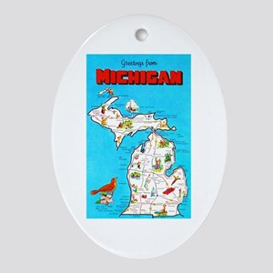 Michigan Map Greetings Ornament (Oval)