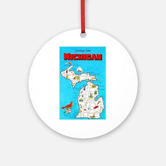 Michigan Map Greetings Ornament (Round)