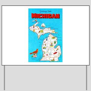 Michigan Map Greetings Yard Sign