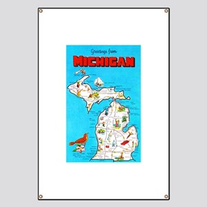 Michigan Map Greetings Banner