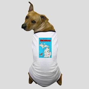 Michigan Map Greetings Dog T-Shirt