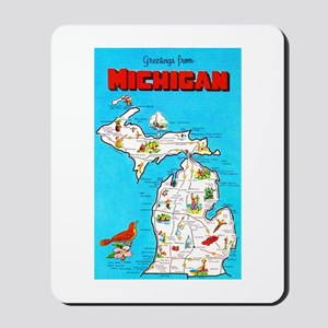 Michigan Map Greetings Mousepad
