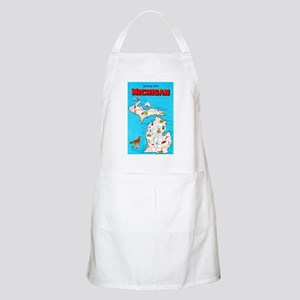 Michigan Map Greetings Apron