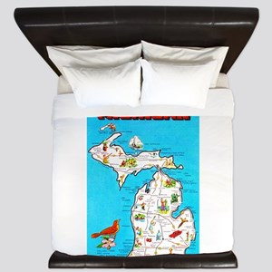 Michigan Map Greetings King Duvet