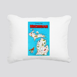 Michigan Map Greetings Rectangular Canvas Pillow