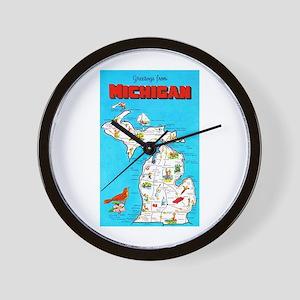 Michigan Map Greetings Wall Clock