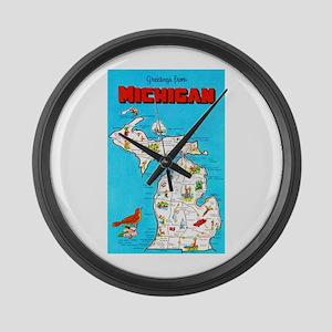 Michigan Map Greetings Large Wall Clock