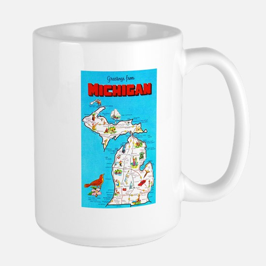 Michigan Map Greetings Large Mug