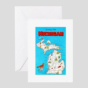 Michigan Map Greetings Greeting Card