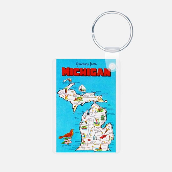 Michigan Map Greetings Keychains