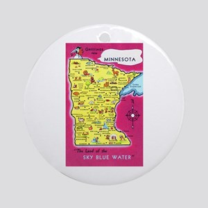 Minnesota Map Greetings Ornament (Round)
