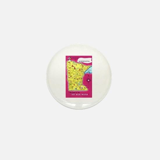 Minnesota Map Greetings Mini Button