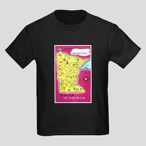Minnesota Map Greetings Kids Dark T-Shirt