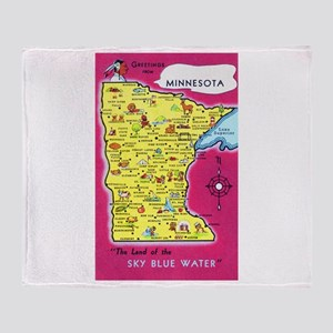 Minnesota Map Greetings Throw Blanket