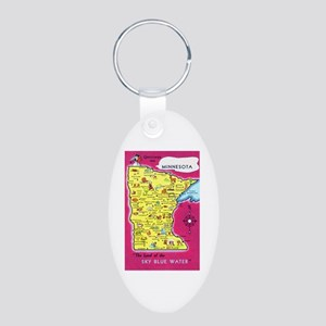 Minnesota Map Greetings Aluminum Oval Keychain