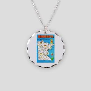 Minnesota Map Greetings Necklace Circle Charm