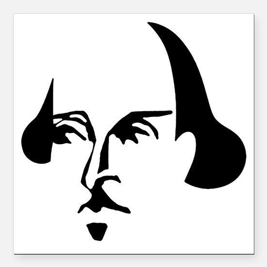 """shakespeare-simple.png Square Car Magnet 3"""" x 3"""""""