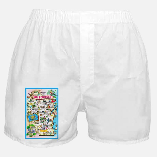 Wisconsin Map Greetings Boxer Shorts