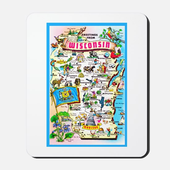 Wisconsin Map Greetings Mousepad